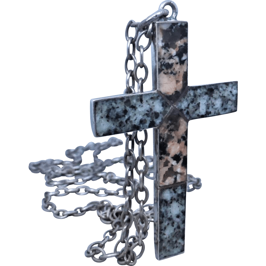 antique-aberdeen-granite-cross-necklace Beryl Lane - Antique Scottish Jewellery