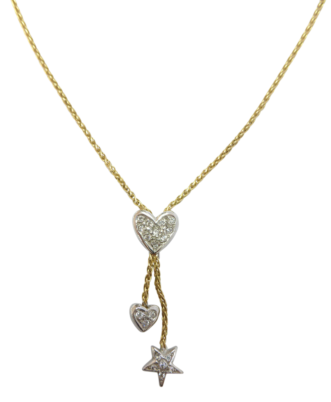 necklace double gold chain two inches diamond tone accent bead cut