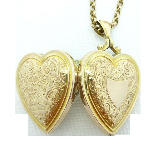 Beryl lane 9ct rose gold antique edwardian engraved heart locket 9ct rose gold antique edwardian engraved heart locket with necklace aloadofball Image collections