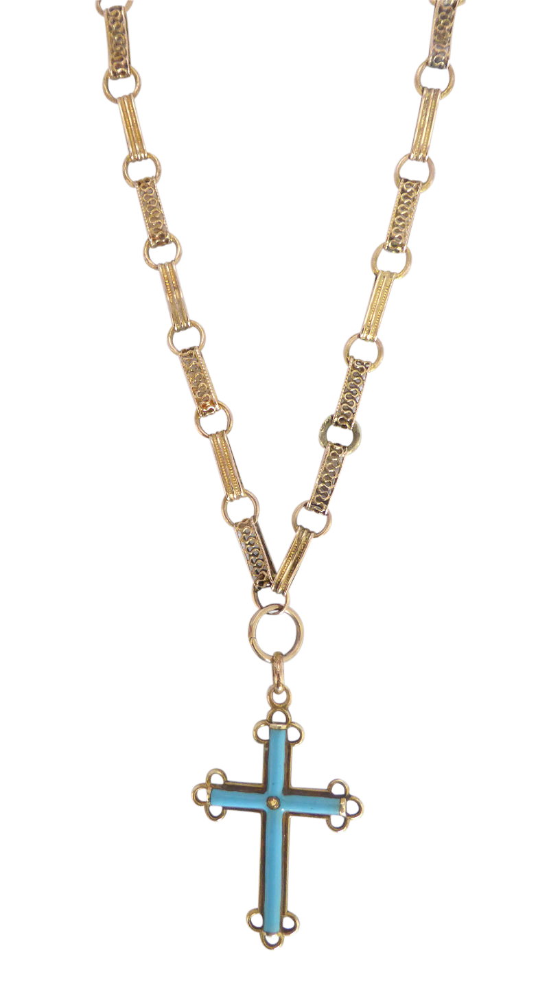 Beryl lane antique victorian 15ct gold pearl turquoise inlay antique victorian 15ct pearl and turquoise inlay cross pendant necklace aloadofball