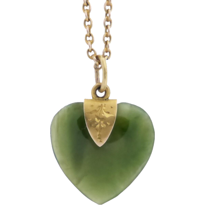Beryl lane edwardian nephrite jade love heart pendant necklace in nephritejadependant aloadofball Image collections