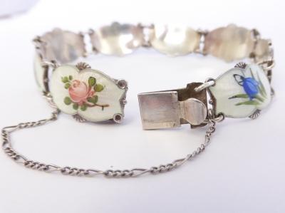 Vintage Enamel Ivar Holt Sterling Silver Floral Bracelet Norway