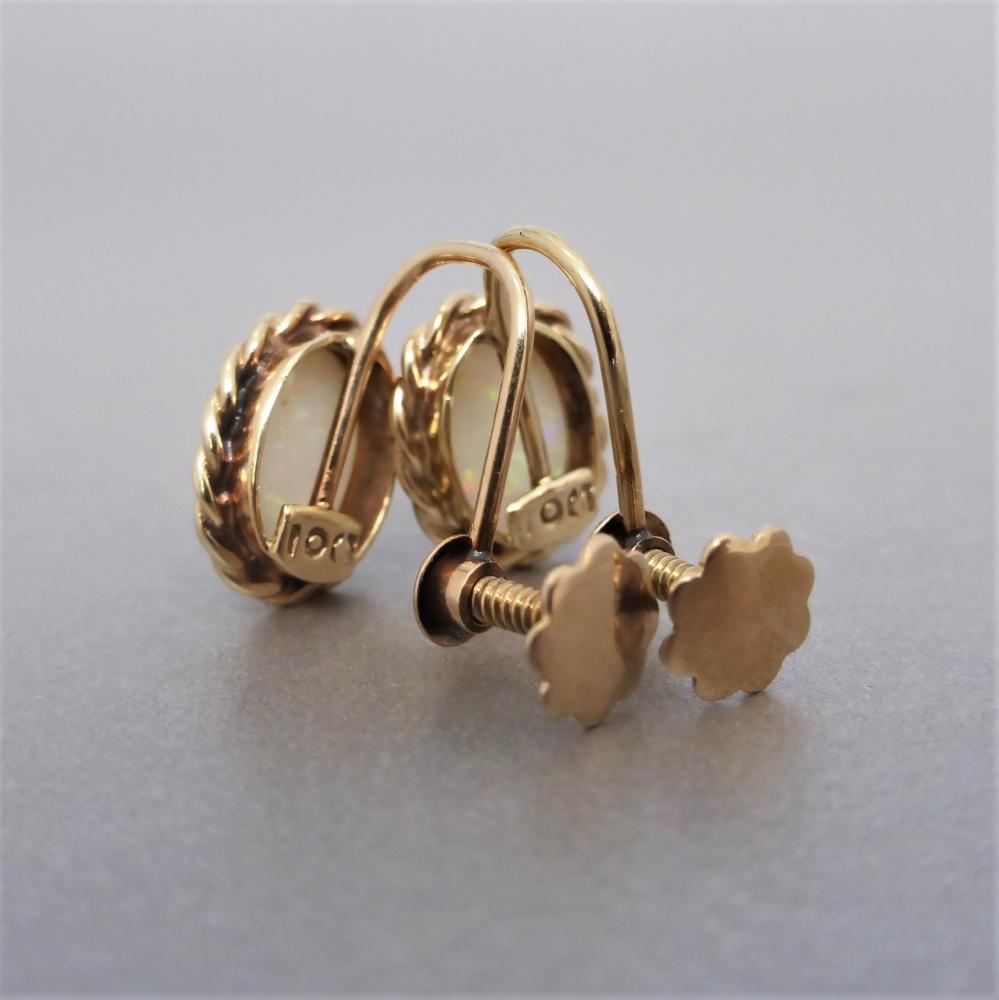 31de876ef Beryl Lane - Vintage 10ct Gold Solid Australian Opal Screw-back Earrings