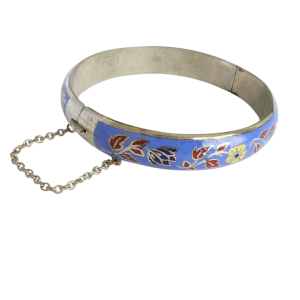 sterlingsilverfloralenamelbangle Beryl Lane - Vintage Sterling Silver Floral Enamel Bangle