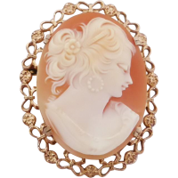 9ct_vintage_cameo_brooch Beryl Lane - Antique Carved Shell Bacchante Cameo Brooch in 9ct Gold