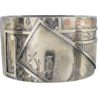 aesthetic_sterling_silver_bangle Beryl Lane - Antique Victorian Sterling Silver and Rose Gold Inlay Hinged Bangle