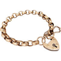 antique-rose-gold-belcher-padlock-bracelet Beryl Lane - Estate 9ct Rose Gold Patterned Gate Padlock Bracelet