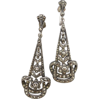 art-deco-marcasite-dangle-earrings Beryl Lane - Marcasite Jewellery