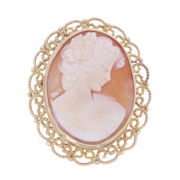 cameo-brooch Beryl Lane - Vintage 9ct Gold Three Graces Cameo Ring