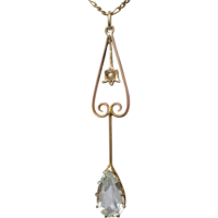 edwardian-aquamarine-pearl-pendant Beryl Lane - Antique Large 9ct Gold Kewpie Doll with Angel Wings Charm Pendant
