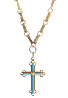 Antique-Victorian-15ct-Pearl-and-Turquoise-Inlay-Cross-Pendant-Necklace-1200-1 Beryl Lane - Antique Victorian 9ct Gold 'REGARD' ring