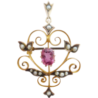 tourmaline_and_seed_pearl_art_nouveau_pendant_brooch Beryl Lane - Art Nouveau (1890-1915)