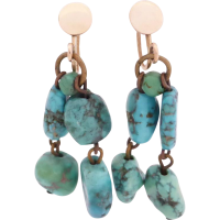 turquoise_earrings Beryl Lane - Antique c1910's Tear-shaped Turquoise Ring in 9ct Gold