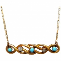 upcylced-turquoise-seed-pearl-lovers-knot-conversion-necklace Beryl Lane - Victorian (1837- 1901)