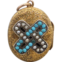 victorian_turquoise_pearl_locket Beryl Lane - Antique Victorian Hand Engraved Mourning Locket Enclosed with Weaved Hair