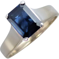 vintage_emerald_cut_sapphire_ring Beryl Lane - Vintage Retro Sapphire and Diamond Ring in 18ct white Gold