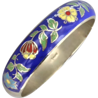vintage_enamel__silver_bangle Beryl Lane - Vintage (1920- 1970)