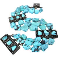 vintage_turquoise_beaded_and_cannetille_silver_bracelet Beryl Lane - Vintage (1920- 1970)