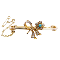 18ct-gold-turquoise-and-seed-pearl-brooch Beryl Lane - SOLD