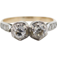 2stone_diamond_engagement_ring Beryl Lane - Victorian 18k Gold Old-cut Diamond Plaque Conversion Ring