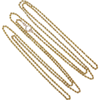 9ct_muff_chain Beryl Lane - Victorian 9ct Gold Long & Smooth Belcher Muff Guard Chain
