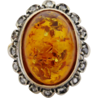 amber_and_diamond_cluster_ring Beryl Lane - Vintage (1920- 1970)