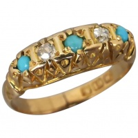antique-edwardian-18k-gold-turquoise-diamond-ring Beryl Lane - Rings