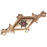 antique-edwardian-9ct-rose-gold-gemstone-brooch Beryl Lane - Antique Edwardian 9ct Gold Natural Ruby & Seed Pearl Brooch