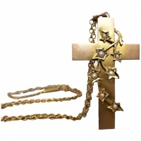 antique-edwardian-9k-gold-ivy-leaf-cross-pendant-necklace Beryl Lane - Necklaces & Pendants