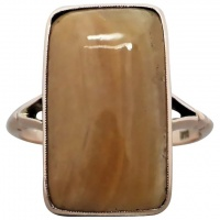 antique-edwardian-9k-rose-gold-banded-agate-ring Beryl Lane - Victorian 18k Gold Old-cut Diamond Plaque Conversion Ring