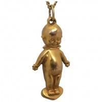 antique-gold-kewpie-doll-charm Beryl Lane - Antique Large 9ct Gold Kewpie Doll with Angel Wings Charm Pendant