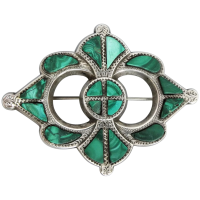 antique-scottish-sterling-silver-malachite-brooch Beryl Lane - Brooches & Pins
