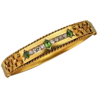 antique-victorian-15k-gold-demantoid-garnet-and-diamond-bangle Beryl Lane - Victorian (1837- 1901)