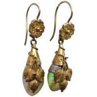 antique-victorian-18k-gold-shell-dangle-earrings Beryl Lane - Victorian (1837- 1901)