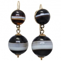 antique-victorian-9k-gold-banded-agate-earrings Beryl Lane - Victorian (1837- 1901)