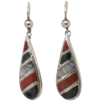 antique-victorian-scottish-sterling-silver-agate-earrings Beryl Lane - Victorian (1837- 1901)