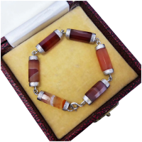 antique-victorian-sterling-silver-agate-bracelet Beryl Lane - Victorian c1880 Scottish Cairngorm Agate Pebble Bracelet