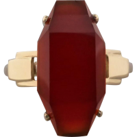 art-deco-gold-carnelian-ring Beryl Lane - Vintage Art Deco 18ct Yellow & White Gold Synthetic Spinel Eternity Ring Band