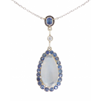 art-deco-moonstone-and-ceylon-sapphire-lavalier-necklace Beryl Lane - SOLD