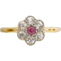 art_deco_white_and_pink_sapphire_cluster_ring Beryl Lane - Rings