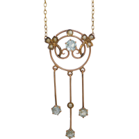 art_nouveau_aquamarine_seed_pearl_necklace Beryl Lane - SOLD