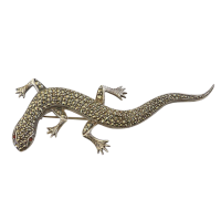 Large-Sterling-Silver-Lizard-Marcasite-Encrusted-Brooch--Garnet-Eyes-153 Beryl Lane - Antique 935 Silver Sparkling Paste Lizard Brooch