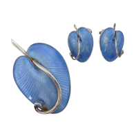 Vintage-Volmer-Bahner-Denmark-Sterling-Silver-and-Blue-Guilloche-Earrings-Brooch-Set-2 Beryl Lane - SOLD