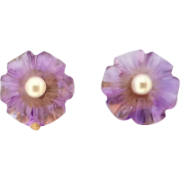 carved_flower_amethyst_pearl_earrings Beryl Lane - SOLD