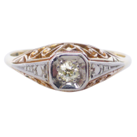 diamond-filigree-ring Beryl Lane - Vintage Art Deco Solitaire Diamond Ring in 18ct White Gold