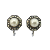 Art-Deco-Sterling-Silver-Marcasite-and-Imitation-Pearl-Earrings-42 Beryl Lane - SOLD