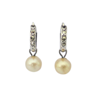 Vintage-Marcasite-and-Cultured-Pearl-Drop-Silver-Earrings-detachable-pearl-154-1 Beryl Lane - SOLD