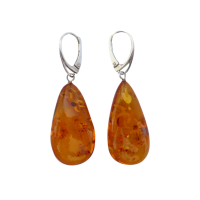 Vintage-Sterling-Silver-Large-Pressed-Amber-drop-Earrings-150-1 Beryl Lane - Mid Century (1950- 1970)