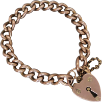 edwardian-padlock-bracelet Beryl Lane - Estate 9ct Rose Gold Patterned Gate Padlock Bracelet