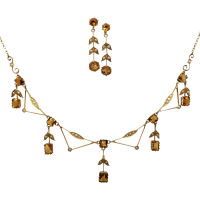 edwardian_citrine_pearl_set Beryl Lane - Graduated Faceted Natural Golden Citrine Strand Necklace